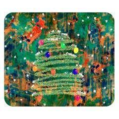 Watercolour Christmas Tree Painting Double Sided Flano Blanket (Small)