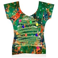 Watercolour Christmas Tree Painting Women s V-Neck Cap Sleeve Top