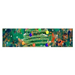 Watercolour Christmas Tree Painting Satin Scarf (oblong)