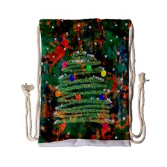 Watercolour Christmas Tree Painting Drawstring Bag (small)