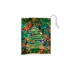 Watercolour Christmas Tree Painting Drawstring Pouches (xs)