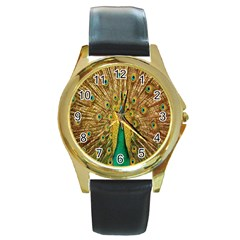 Peacock Bird Feathers Round Gold Metal Watch