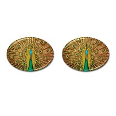 Peacock Bird Feathers Cufflinks (Oval)