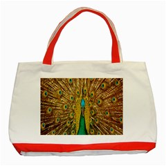 Peacock Bird Feathers Classic Tote Bag (Red)