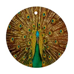 Peacock Bird Feathers Round Ornament (Two Sides)