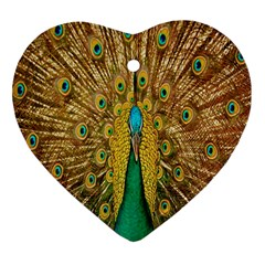 Peacock Bird Feathers Heart Ornament (Two Sides)