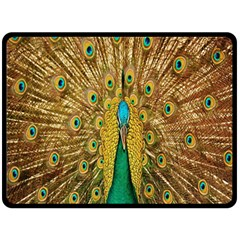 Peacock Bird Feathers Fleece Blanket (Large)