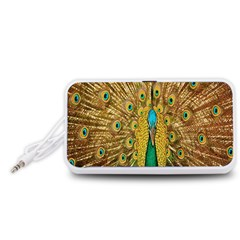 Peacock Bird Feathers Portable Speaker (White)