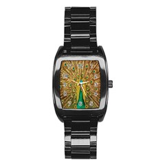 Peacock Bird Feathers Stainless Steel Barrel Watch