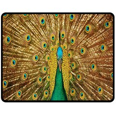 Peacock Bird Feathers Double Sided Fleece Blanket (Medium)