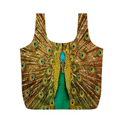 Peacock Bird Feathers Full Print Recycle Bags (m)