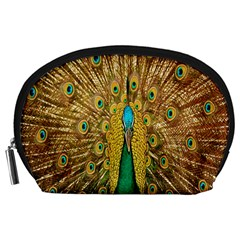 Peacock Bird Feathers Accessory Pouches (Large)