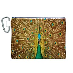 Peacock Bird Feathers Canvas Cosmetic Bag (xl)
