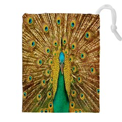 Peacock Bird Feathers Drawstring Pouches (XXL)