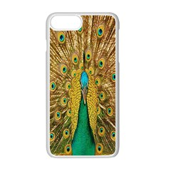 Peacock Bird Feathers Apple Iphone 7 Plus White Seamless Case