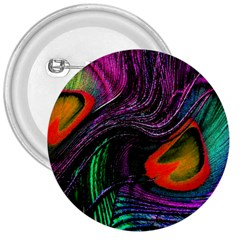 Peacock Feather Rainbow 3  Buttons