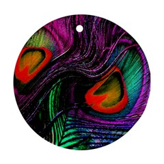 Peacock Feather Rainbow Ornament (round)