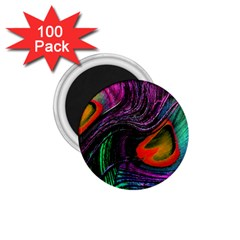 Peacock Feather Rainbow 1 75  Magnets (100 Pack)