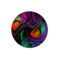 Peacock Feather Rainbow Rubber Coaster (Round)