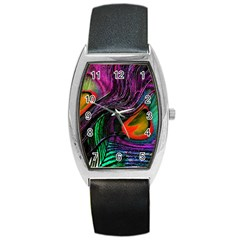 Peacock Feather Rainbow Barrel Style Metal Watch