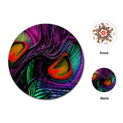 Peacock Feather Rainbow Playing Cards (Round)