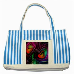Peacock Feather Rainbow Striped Blue Tote Bag
