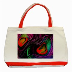 Peacock Feather Rainbow Classic Tote Bag (Red)