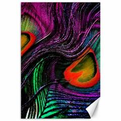 Peacock Feather Rainbow Canvas 12  X 18