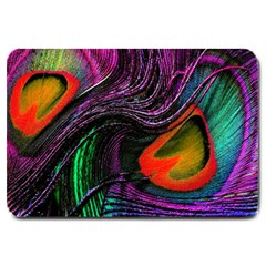 Peacock Feather Rainbow Large Doormat