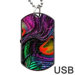 Peacock Feather Rainbow Dog Tag Usb Flash (one Side)