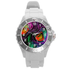 Peacock Feather Rainbow Round Plastic Sport Watch (L)