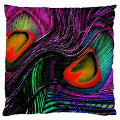 Peacock Feather Rainbow Large Cushion Case (One Side)