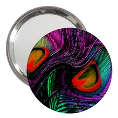 Peacock Feather Rainbow 3  Handbag Mirrors