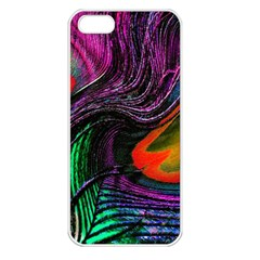 Peacock Feather Rainbow Apple iPhone 5 Seamless Case (White)