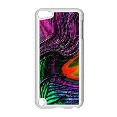 Peacock Feather Rainbow Apple iPod Touch 5 Case (White)