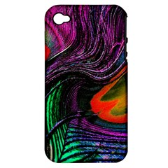 Peacock Feather Rainbow Apple iPhone 4/4S Hardshell Case (PC+Silicone)