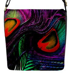 Peacock Feather Rainbow Flap Messenger Bag (S)