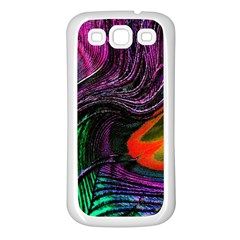 Peacock Feather Rainbow Samsung Galaxy S3 Back Case (White)