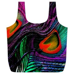 Peacock Feather Rainbow Full Print Recycle Bags (l)