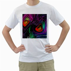 Peacock Feather Rainbow Men s T Shirt (white)