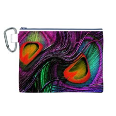 Peacock Feather Rainbow Canvas Cosmetic Bag (L)