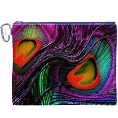 Peacock Feather Rainbow Canvas Cosmetic Bag (xxxl)