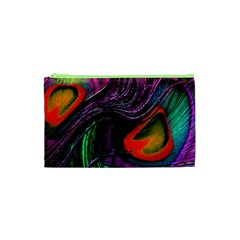 Peacock Feather Rainbow Cosmetic Bag (XS)