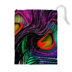 Peacock Feather Rainbow Drawstring Pouches (extra Large)