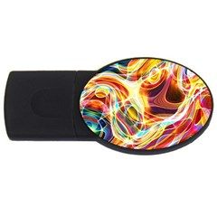 Colourful Abstract Background Design Usb Flash Drive Oval (2 Gb)