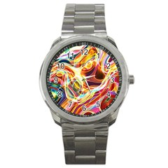 Colourful Abstract Background Design Sport Metal Watch