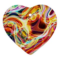 Colourful Abstract Background Design Heart Ornament (two Sides)