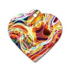 Colourful Abstract Background Design Dog Tag Heart (one Side)