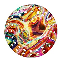 Colourful Abstract Background Design Ornament (round Filigree)