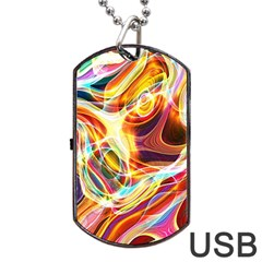 Colourful Abstract Background Design Dog Tag Usb Flash (one Side)